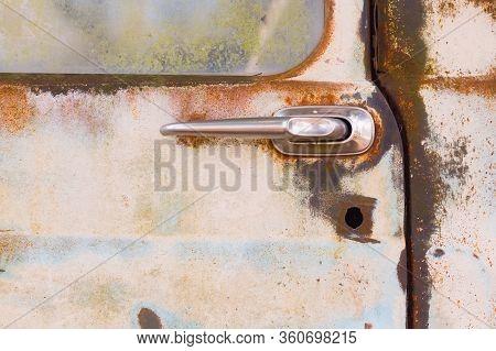 Door Handle Of Old Rusty Truck