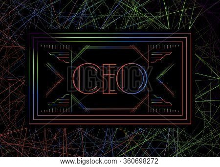 Art Deco Ceo (chief Executive Officer) Text. Decorative Greeting Card, Sign With Vintage Letters.