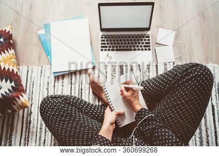 Businesswoman Dressed Pajamas Writing Day Plan Enjoying Morning Coffee On Living Room Floor Office W