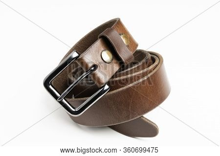 Men's Used Brown Leather Belt With Patina