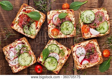 Sandwiches With Cream Cheese, Vegetables And Salami. Sandwiches With Cucumber, Radish, Tomatoes, Sal