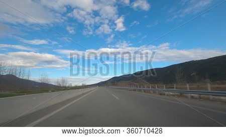 Greek Empty Highway Without Traffic. Day Pov View Of Car Speeding On Multi Lane Road At Egnatia Moto