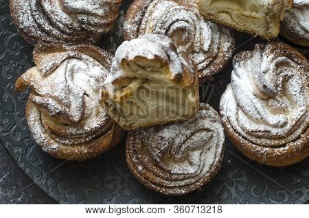 Layered Donuts With Cinnamon And Cane Sugar