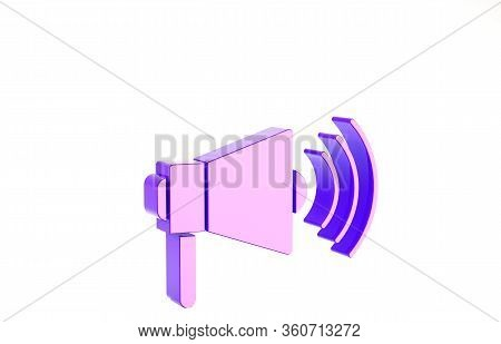 Purple Megaphone Icon Isolated On White Background. Loud Speach Alert Concept. Bullhorn For Mouthpie