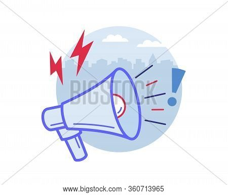 Bullhorn Or Loudspeaker Or Megaphone Announcing The News, Promotion, Outbound Marketing. Technology