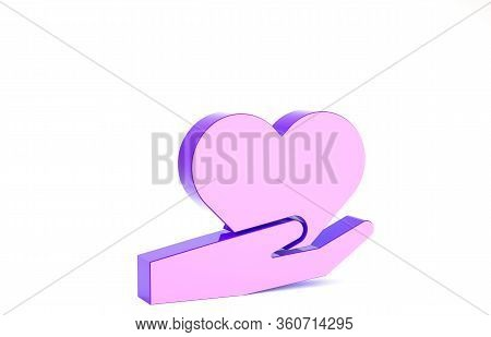 Purple Heart On Hand Icon Isolated On White Background. Hand Giving Love Symbol. Valentines Day Symb