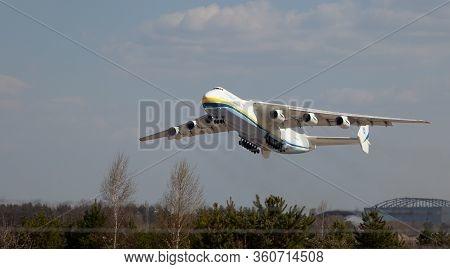 Ukraine, Gostomel - April 11, 2020: Aircraft An-225 Mriya Takes Off. Plane Ur-82060. Antonov Design