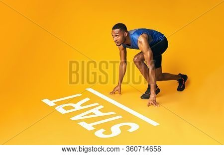 Collage Of Muscular Black Sportsman Preparing For A Run Near Start Line, Ready To Moving Forward Ove