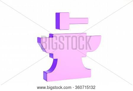 Purple Anvil For Blacksmithing And Hammer Icon Isolated On White Background. Metal Forging. Forge To