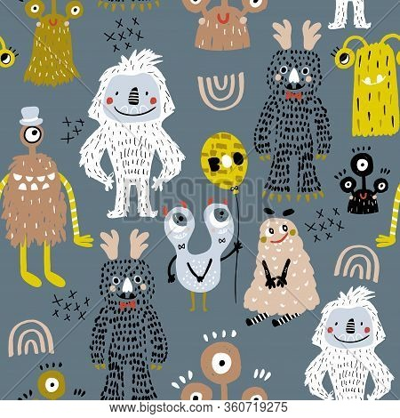 Childish Seamless Pattern With Creative Monsters. Funny Monsters Vector Background. Perfect For Kids