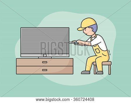 Concept Comprehensive Electrician Service. Professional Worker Repairman In Uniform Fixes Tv. Charac