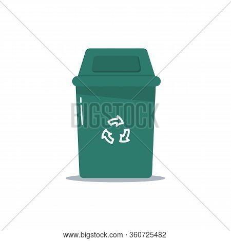 Metal And Plastic Trash Bins, Garbage Bags In Flat Design. Multi-colored Waste Bins Full Of Garbage.