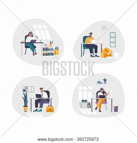 Set Of 4 Isolated People - Concept Customer Service. Flat Design. Online Global Technical Support. V