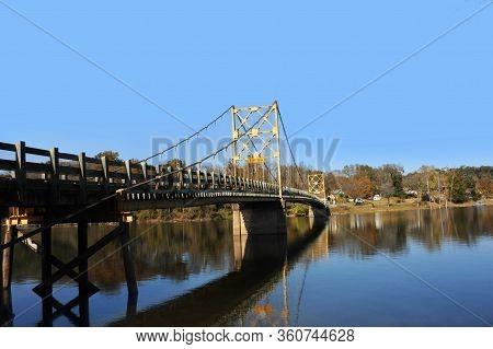 Beaver Bridge Is The Only Suspension Bridge Open To Traffic In Arkansas.  Floor Of Bridge Is Wooden.