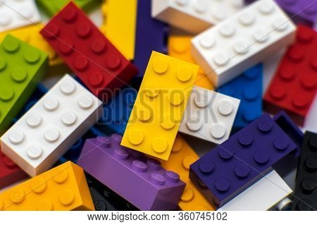 Tallinn / Estonia - April 9, 2020: The Most Popular Lego Blocks - Plastic Construction Toy By The Le