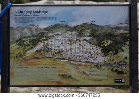 Yellowstone National Park, Usa - July 14 2014: A Metal Sign Showing Mammoth Hot Springs Terraces At