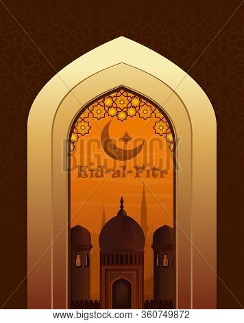 Islamic Beautiful Greeting Card With Greeting Lettering - Eid-al-fitr. View Of The Arab City Through