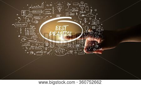 Hand touching BEST PRACTICE inscription, hand drawn icons around, business plan concept