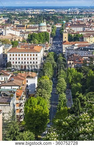 Aerial Panorama Of Bergamo City, Lombardy Province, Italy. Picturesque Spring View Of Bergamo Main S