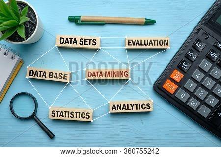 Data Minig Concept - Wooden Blocks With Inscriptions Data Sets, Data Mining.. Close Up.