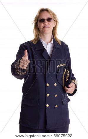 Female Pilot Showing Thumbs Up Sign