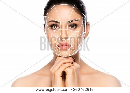 Biometric Authentication Concept. Facial Recognition System Of Beautiful Woman On White Background