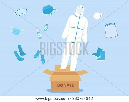 People Donate Ppe Personal Protective Suit Clothing Isolated And Safety Equipment For Prevent Corona