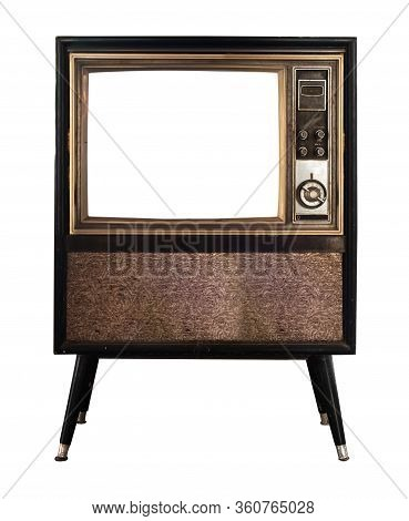 Vintage Television - Old Tv With Frame Screen Isolate On White With Clipping Path For Object, Retro