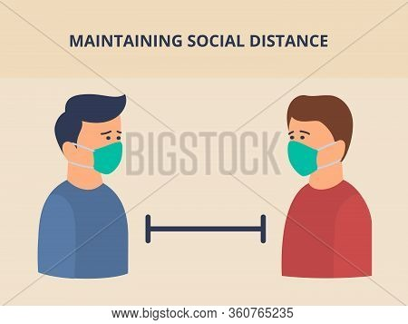 Social Distance Concept Or Physical With Two Man Distancing Space With Modern Flat Style Vector