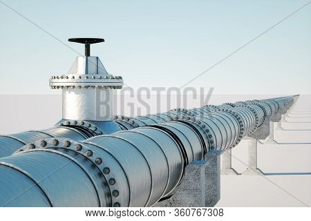 The Pipeline On A Light Background, The Transportation Of Oil And Gas Through Pipes. Technology, Pol