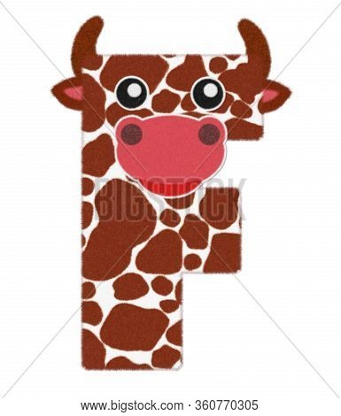 3d Illustration Cow Cartoon Character Wool Fur Feather Letter F Decorative With Cute Cow Face,  Brow