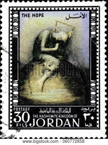 02.09.2020 Divnoe Stavropol Territory Russia Jordan Postage Stamp 1974 Famous Paintings Hope, By Fre
