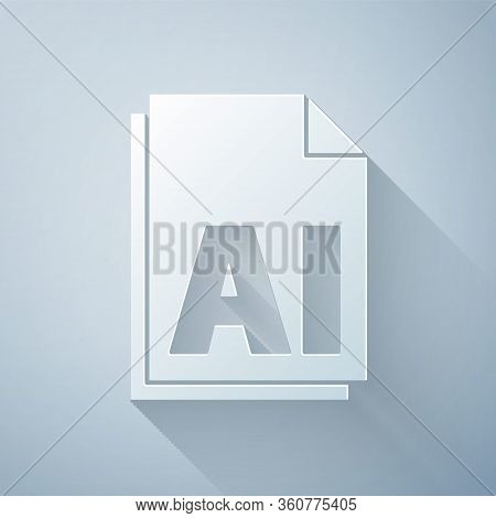 Paper Cut Ai File Document. Download Ai Button Icon Isolated On Grey Background. Ai File Symbol. Pap