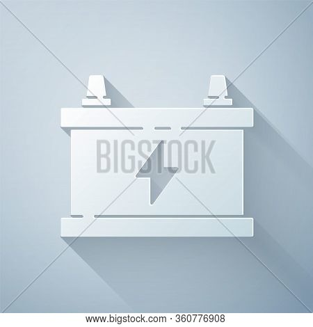 Paper Cut Car Battery Icon Isolated On Grey Background. Accumulator Battery Energy Power And Electri