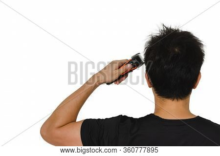 Man Cutting His Own Messy Hair With A Clipper When Quarantine Time Isolated On White Background For