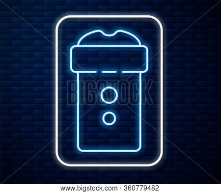 Glowing Neon Line Vagina Masturbator Icon Isolated On Brick Wall Background. Sex Toy For Man. Vector
