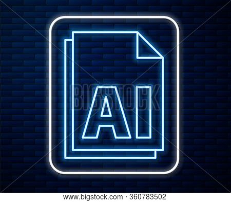 Glowing Neon Line Ai File Document. Download Ai Button Icon Isolated On Brick Wall Background. Ai Fi