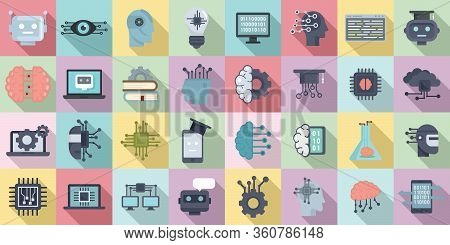 Machine Learning Icons Set. Flat Set Of Machine Learning Vector Icons For Web Design