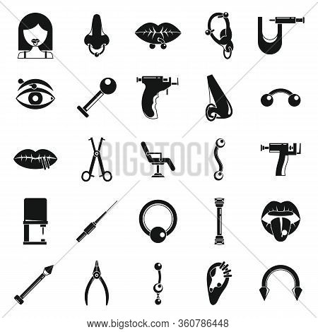 Piercing Body Icons Set. Simple Set Of Piercing Body Vector Icons For Web Design On White Background