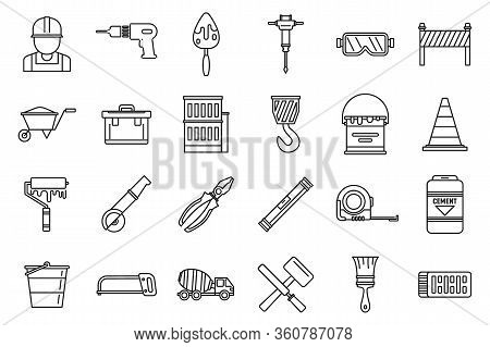 Modern Building Reconstruction Icons Set. Outline Set Of Modern Building Reconstruction Vector Icons