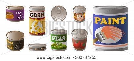 Tin Can Icons Set. Cartoon Set Of Tin Can Vector Icons For Web Design