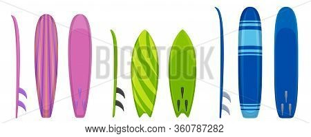 Surfboard Icons Set. Cartoon Set Of Surfboard Vector Icons For Web Design