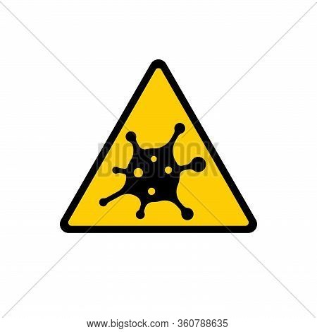 Coronavirus 2019-ncov. Corona Virus Attention Icon. Yellow Triangle Sign Isolated White Background.