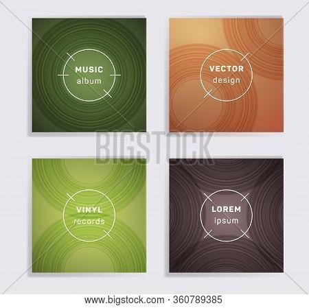 Modern Vinyl Records Music Album Covers Set. Semicircle Curve Lines Patterns. Flat Creative Vinyl Mu