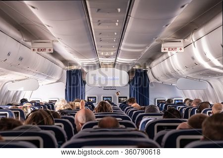 Frankfurt Germany 18.11.19 Condor Air Airplane Logo Passengers And Board Crew Inside A Boeing Airpla