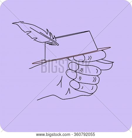 Fico Or Fig Gesture With A Hat With Feather Drawn By Means Of Black Lines On The Purple Background W