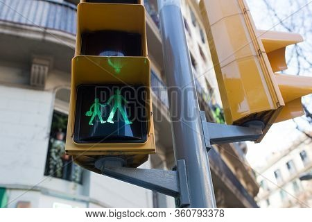 Traffic Light With Green Pedestrians. Green Light Let Go.