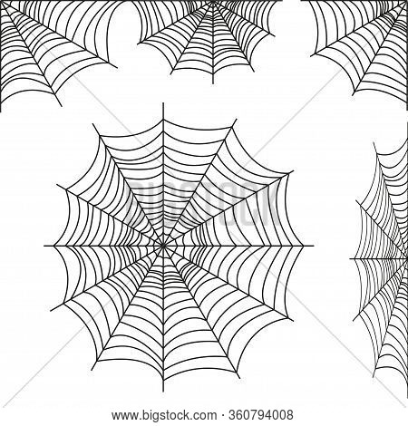 Spider Web Collection Isolated On White Tone. Spider Web For Halloween Design. Web Element Spider, S