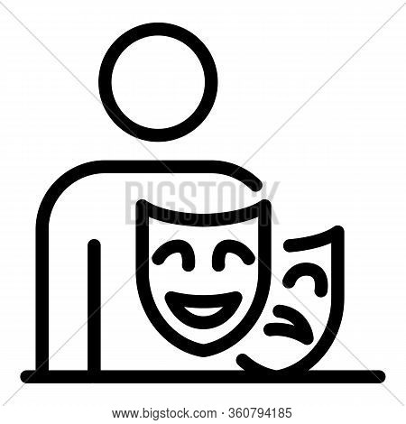 Actor Masks Icon. Outline Actor Masks Vector Icon For Web Design Isolated On White Background