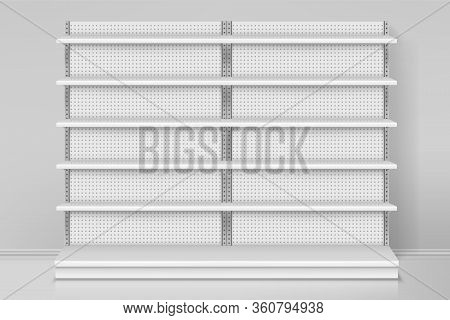 Front View On Shop Or Store Shelves. Counter Design With Dots. Empty Or Blank Mall Showcase. Mockup